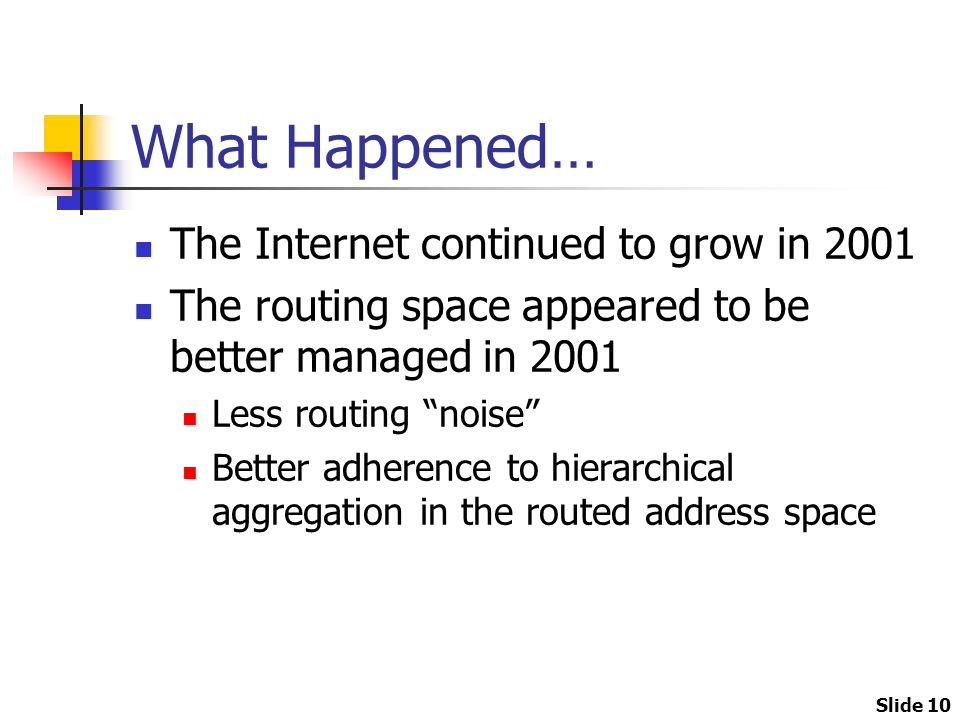Slide 10 What Happened… The Internet continued to grow in 2001 The routing space appeared to be better managed in 2001 Less routing noise Better adherence to hierarchical aggregation in the routed address space