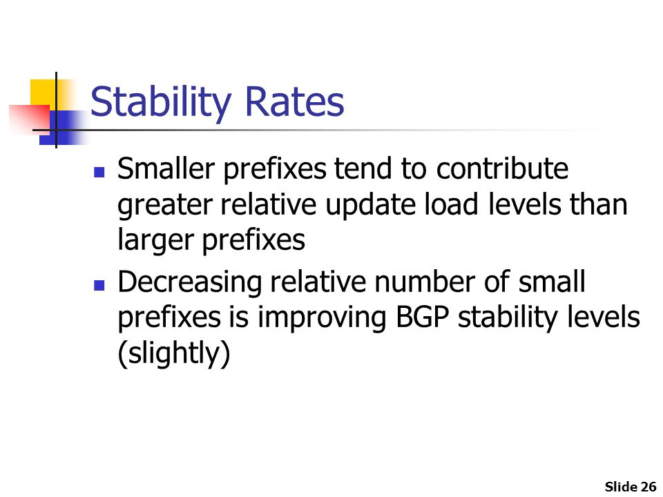 Slide 26 Stability Rates Smaller prefixes tend to contribute greater relative update load levels than larger prefixes Decreasing relative number of small prefixes is improving BGP stability levels (slightly)
