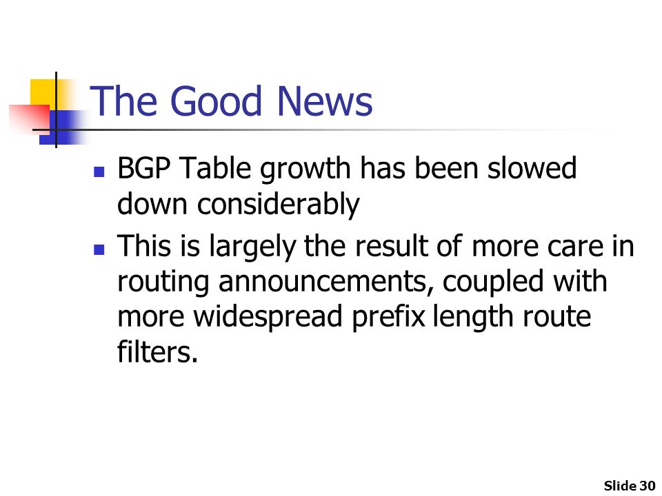 Slide 30 The Good News BGP Table growth has been slowed down considerably This is largely the result of more care in routing announcements, coupled with more widespread prefix length route filters.