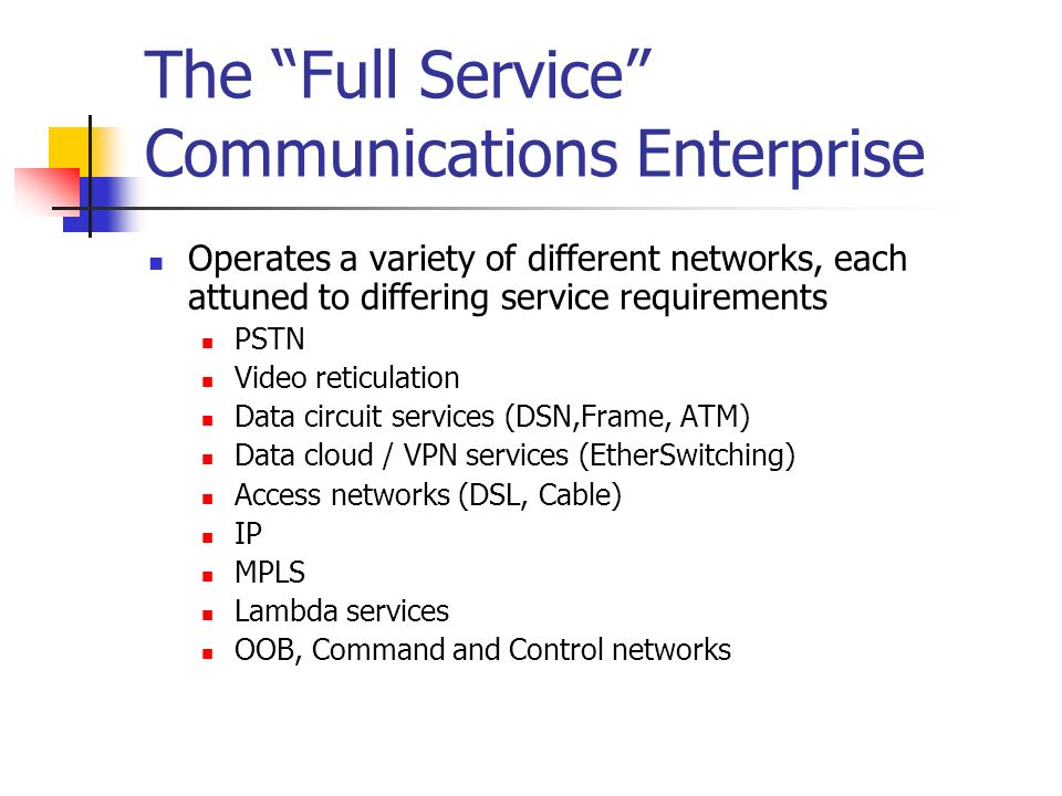 The Full Service Communications Enterprise Operates a variety of different networks, each attuned to differing service requirements PSTN Video reticulation Data circuit services (DSN,Frame, ATM) Data cloud / VPN services (EtherSwitching) Access networks (DSL, Cable) IP MPLS Lambda services OOB, Command and Control networks