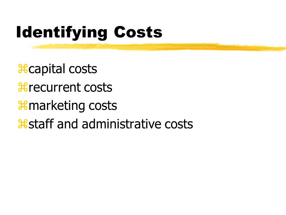 Identifying Costs zcapital costs zrecurrent costs zmarketing costs zstaff and administrative costs