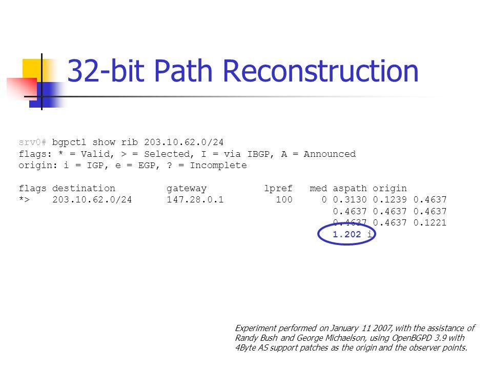 32-bit Path Reconstruction srv0# bgpctl show rib 203.10.62.0/24 flags: * = Valid, > = Selected, I = via IBGP, A = Announced origin: i = IGP, e = EGP,