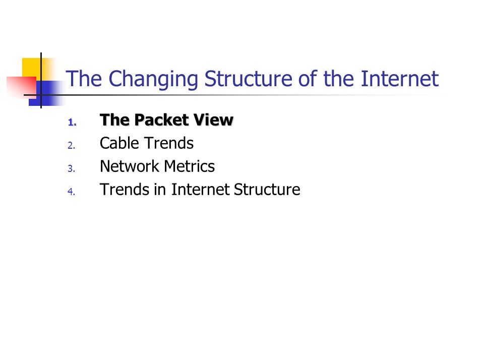 Internet Metrics Methodology: Routing information is an abstract picture of the inter-provider topology of the network Take regular snapshots of the Internets global routing table Changes in the topology and structure of the inter-provider Internet are reflected by trends in aspects of the routing system