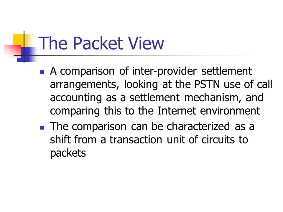 Call Model Settlements Every inter-provider circuit is used to support bilateral dynamic virtual circuits (calls) Each circuit is bilaterally funded Every call has an originator and a terminator The originator pays the originating provider The originating provider pays the terminating provider John Provider A (Originating) Provider B (Terminating) Mary