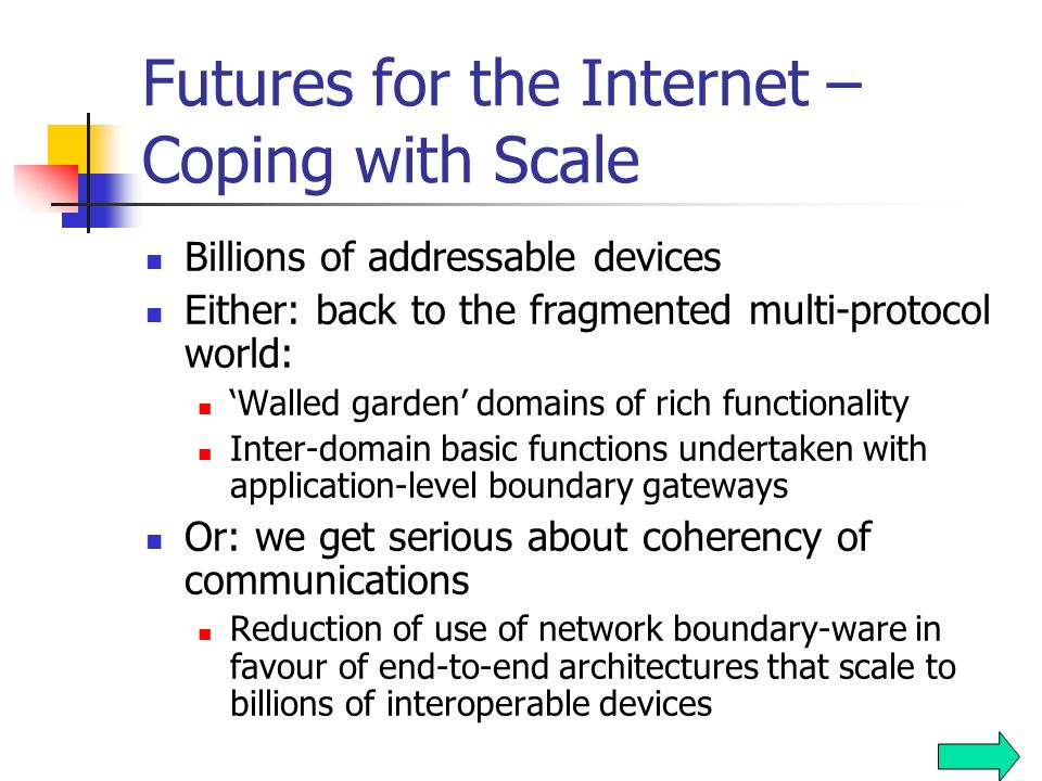 Futures for the Internet Same basic model: dumb network, smart devices Packet-based model of network sharing Packet reordering, loss and jitter to rem