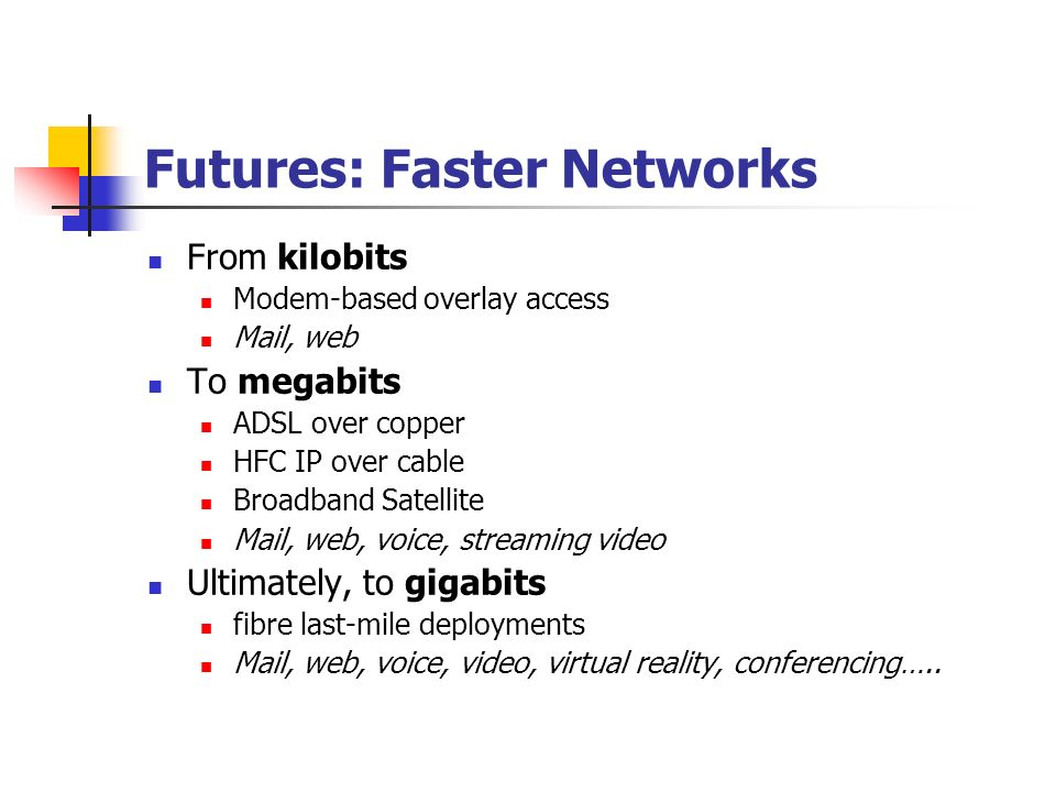 Faster Core IP Networks From Silicon switching to Photon switching Reduce the number of optical / electrical conversions in order to increase network capacity to gigabit long-haul trunk networks The next generation optical switched backbone Gigabit to Terabit network systems using multi- wavelength optical systems Single hop routing to multi-hop optical Traffic- Engineering control planes