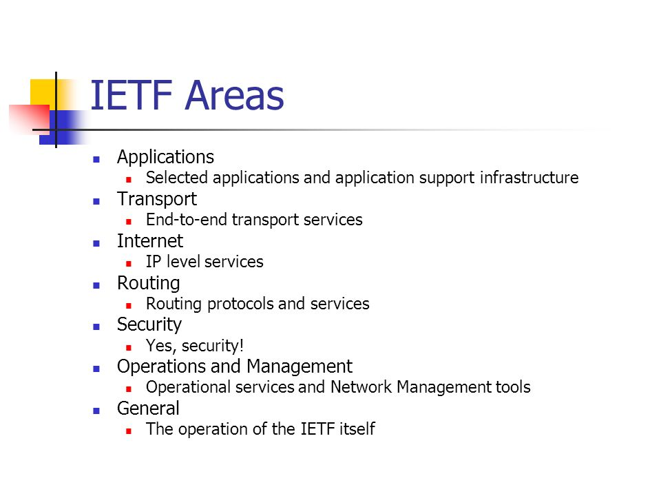 IETF Areas Applications Selected applications and application support infrastructure Transport End-to-end transport services Internet IP level services Routing Routing protocols and services Security Yes, security.