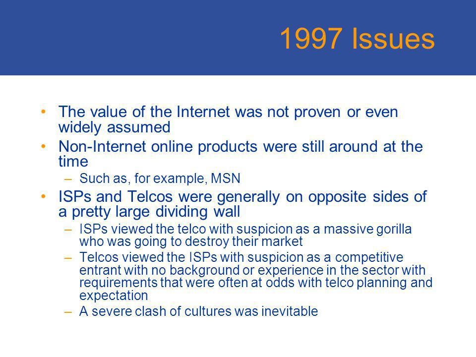 1997 Issues Transmission bandwidth was still relatively scarce and relatively expensive ATM was seen as the switching technology of choice for many Last mile technology was all about making 56K modems more reliable The fuss about the online economy was often seen as either too much enthusiasm or too much skepticism, or even a mix of both IPv6, VPNs, vLANs, VOIP, QoS, Mobility, GigE all hot technical topics