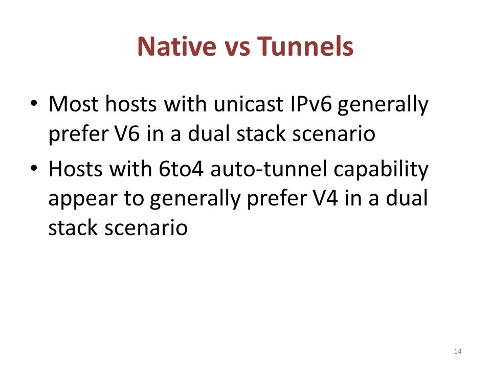 Native vs Tunnels Most hosts with unicast IPv6 generally prefer V6 in a dual stack scenario Hosts with 6to4 auto-tunnel capability appear to generally prefer V4 in a dual stack scenario 14