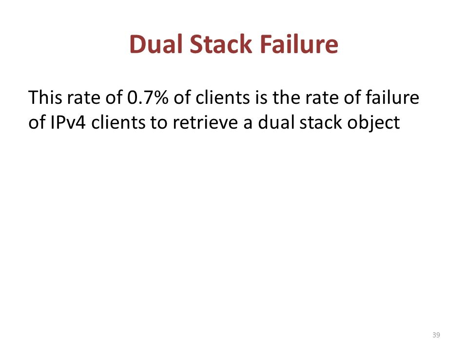 Dual Stack Failure This rate of 0.7% of clients is the rate of failure of IPv4 clients to retrieve a dual stack object 39