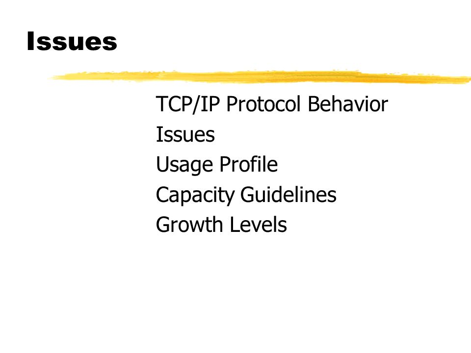 Issues TCP/IP Protocol Behavior Issues Usage Profile Capacity Guidelines Growth Levels