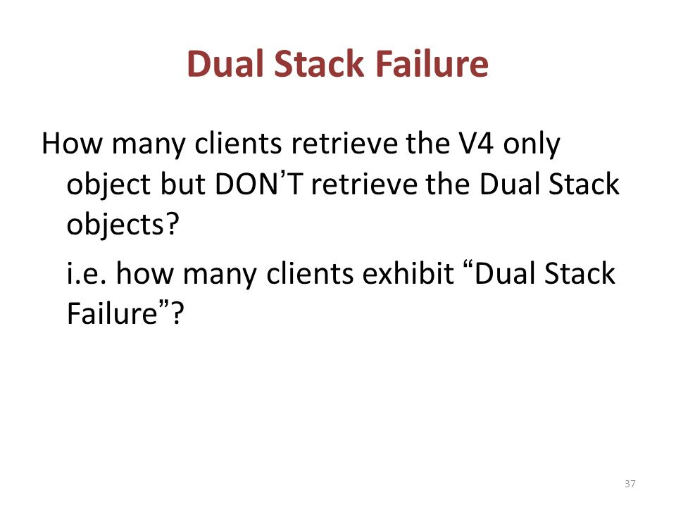Dual Stack Failure How many clients retrieve the V4 only object but DONT retrieve the Dual Stack objects.
