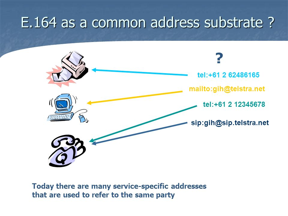 E.164 as a common address substrate ? sip:gih@sip.telstra.net tel:+61 2 62486165 mailto:gih@telstra.net tel:+61 2 12345678 Today there are many servic
