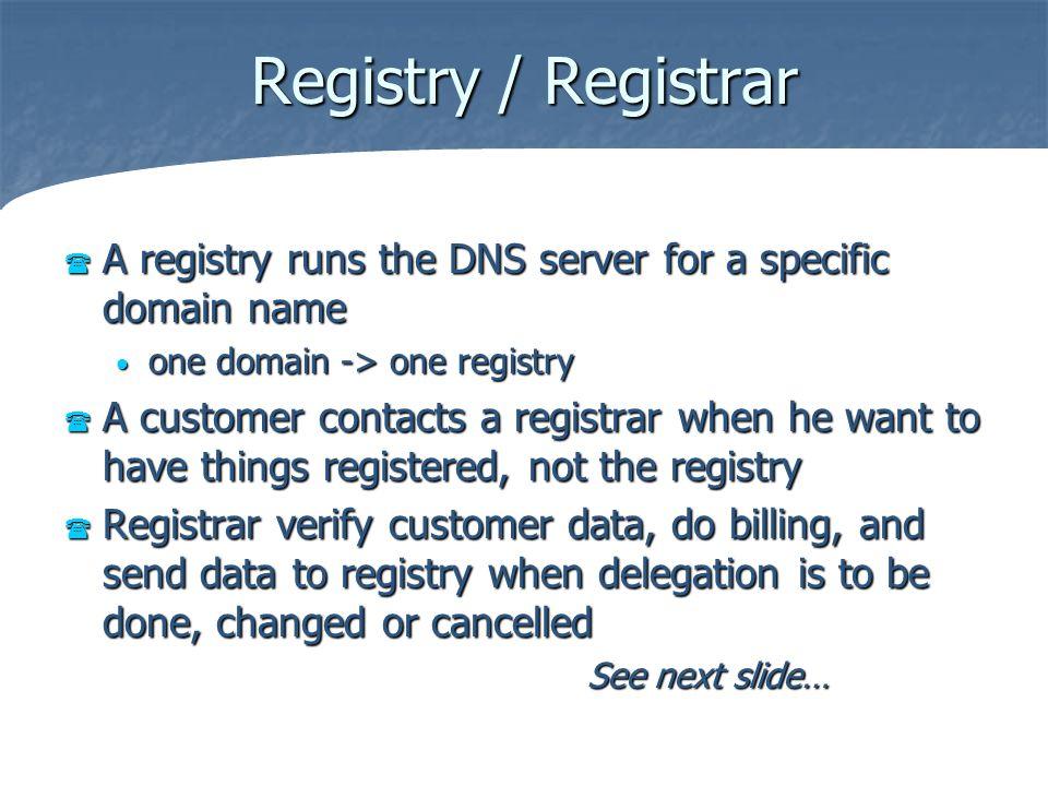 Registry / Registrar A registry runs the DNS server for a specific domain name A registry runs the DNS server for a specific domain name one domain ->