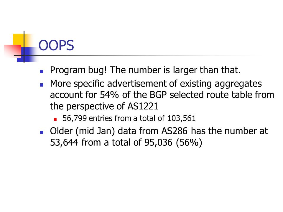 OOPS Program bug! The number is larger than that. More specific advertisement of existing aggregates account for 54% of the BGP selected route table f