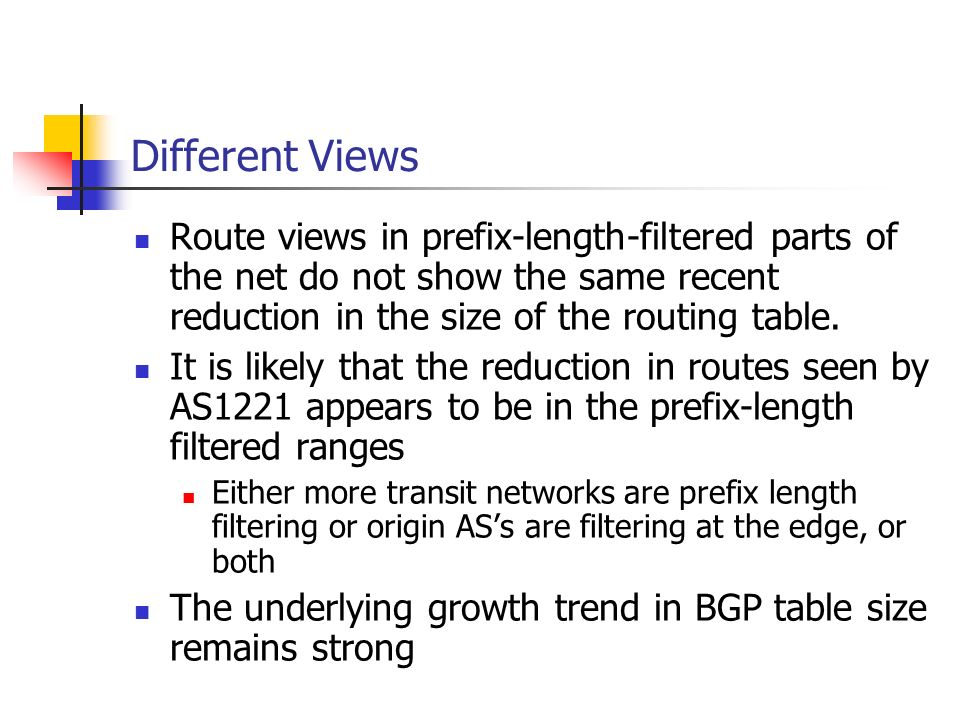 Route views in prefix-length-filtered parts of the net do not show the same recent reduction in the size of the routing table. It is likely that the r