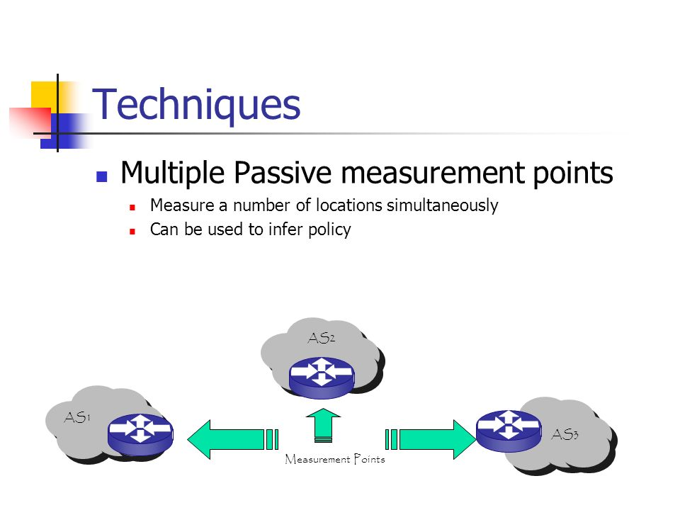 Techniques Multiple Passive measurement points Measure a number of locations simultaneously Can be used to infer policy AS3 Measurement Points AS2 AS1