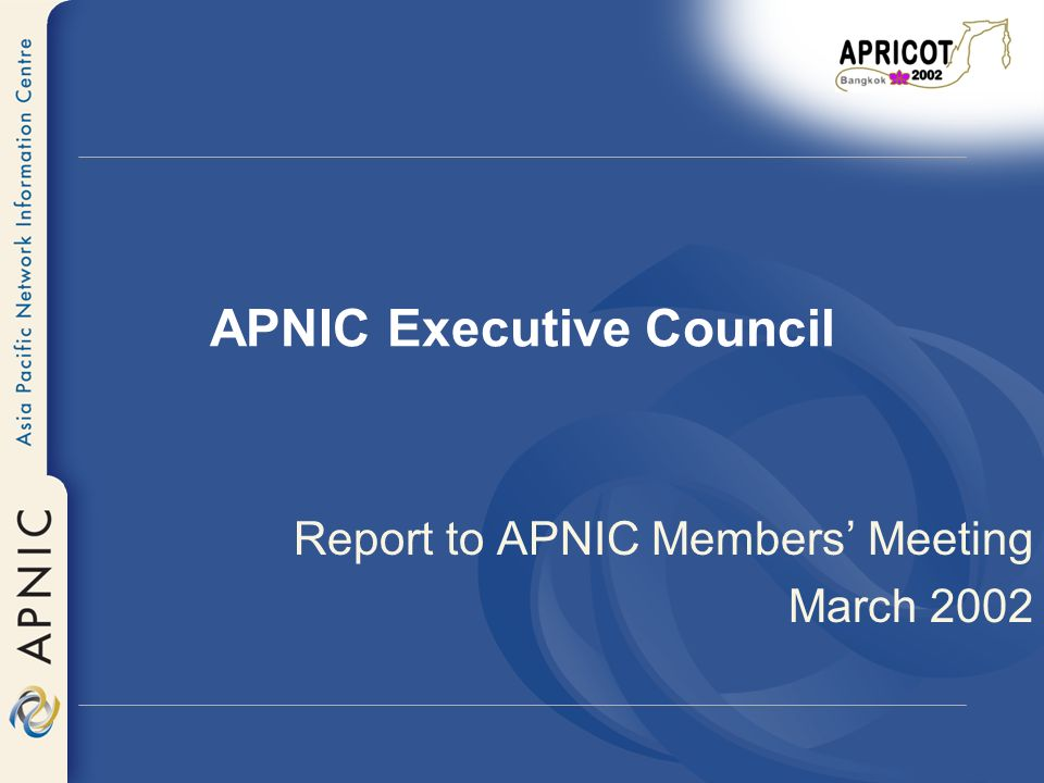 APNIC Executive Council Report to APNIC Members Meeting March 2002