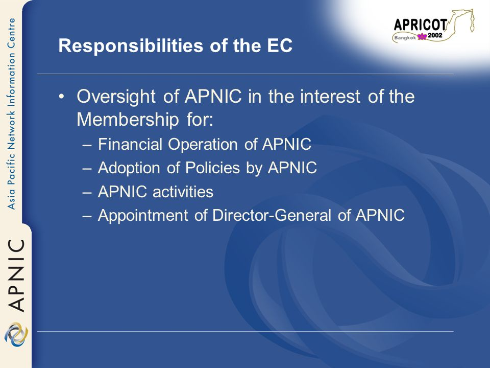 2001 Activities of the EC Policy Oversight Financial Oversight and Fiscal Policy Membership Agreement Document Policies Membership Fees and Services NIRs ICANN Contract