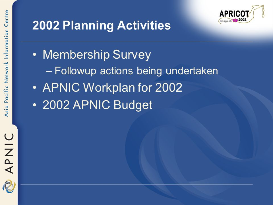 2002 Planning Activities Membership Survey –Followup actions being undertaken APNIC Workplan for 2002 2002 APNIC Budget