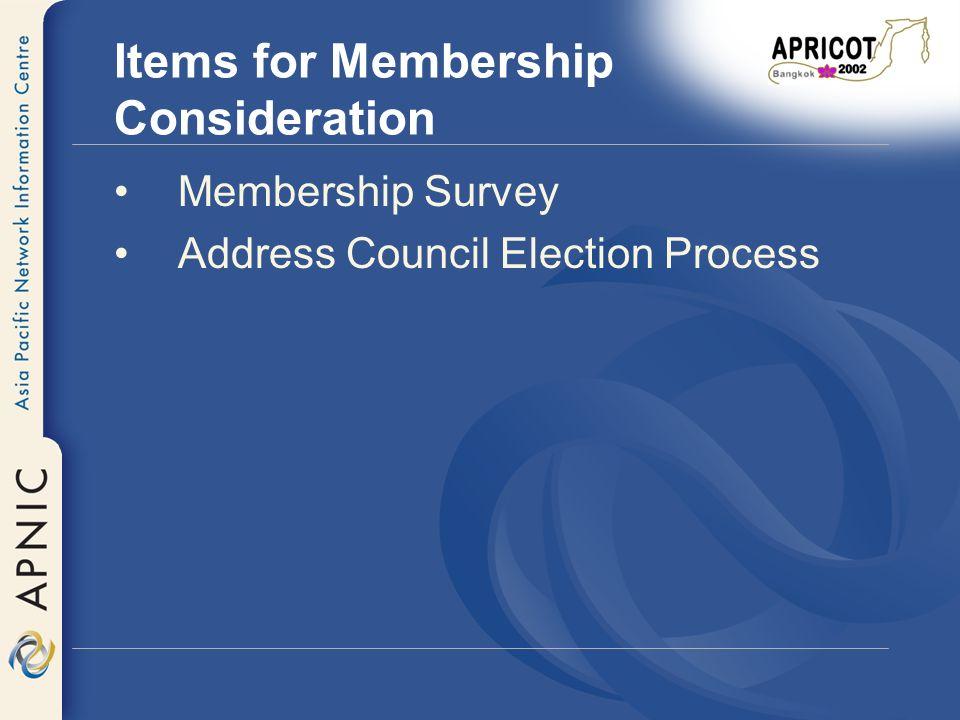 Membership Survey Membership Survey findings at http://www.apnic.net/survey/2001 http://www.apnic.net/survey/2001