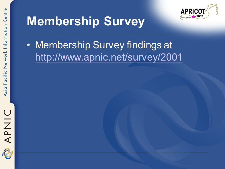 EC Response to Survey It is clear from this survey that within the APNIC community there are diverse views about APNIC s role and responsibilities, and about the services it should offer.
