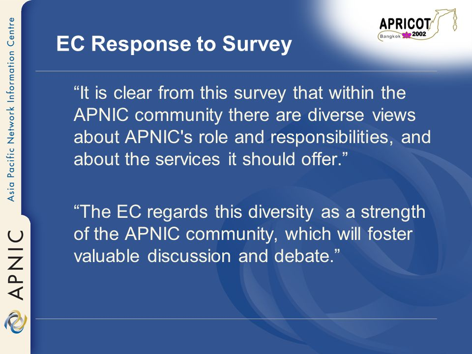 Survey - Issues Raised Noted a high level of satisfaction within the membership over the services and processes used within APNIC Continued improvement to APNICs services and processes is encouraged by the EC The EC response noted potential areas for improvement in the areas of: –Service Quality –New Services –Member Input to APNIC –APNIC Decision Framework –Members Role –ISO Quality Certification –Supporting Diversity –Supporting Development within the Region –Governmental Liaison