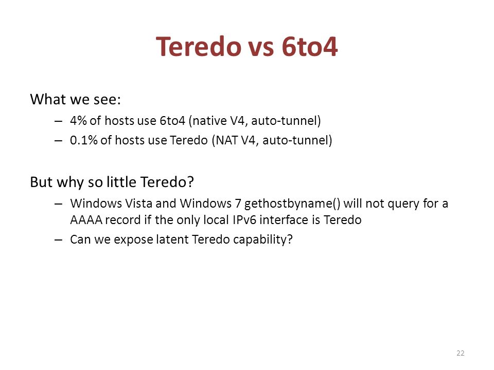 Teredo vs 6to4 What we see: – 4% of hosts use 6to4 (native V4, auto-tunnel) – 0.1% of hosts use Teredo (NAT V4, auto-tunnel) But why so little Teredo.