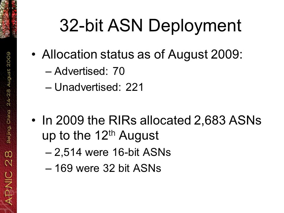 32-bit ASN Deployment Allocation status as of August 2009: –Advertised: 70 –Unadvertised: 221 In 2009 the RIRs allocated 2,683 ASNs up to the 12 th August –2,514 were 16-bit ASNs –169 were 32 bit ASNs