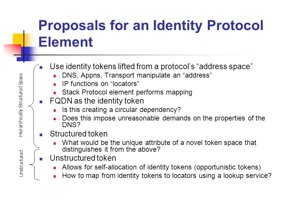 Proposals for an Identity Protocol Element Use identity tokens lifted from a protocols address space DNS, Appns, Transport manipulate an address IP functions on locators Stack Protocol element performs mapping FQDN as the identity token Is this creating a circular dependency.