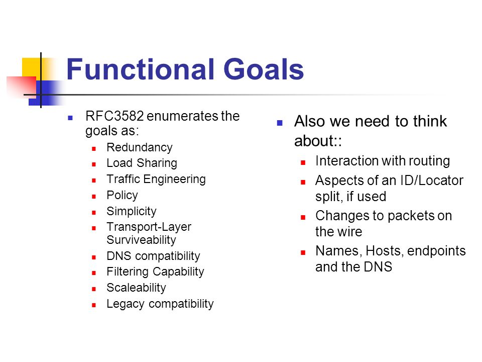 Functional Goals RFC3582 enumerates the goals as: Redundancy Load Sharing Traffic Engineering Policy Simplicity Transport-Layer Surviveability DNS compatibility Filtering Capability Scaleability Legacy compatibility Also we need to think about:: Interaction with routing Aspects of an ID/Locator split, if used Changes to packets on the wire Names, Hosts, endpoints and the DNS