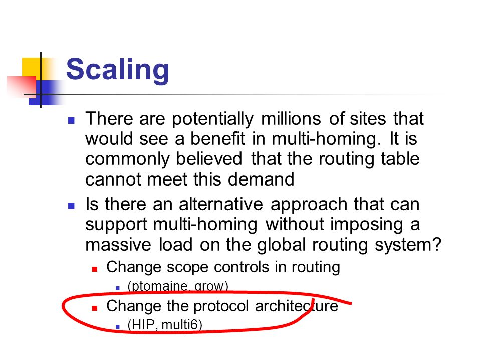 Scaling There are potentially millions of sites that would see a benefit in multi-homing.