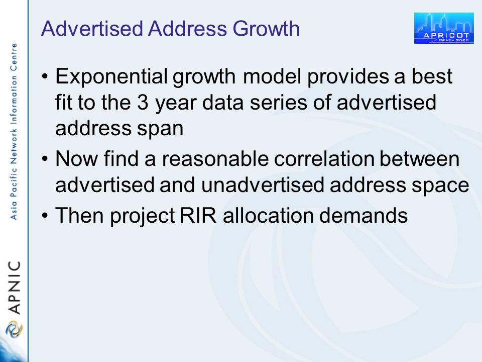 Advertised Address Growth Exponential growth model provides a best fit to the 3 year data series of advertised address span Now find a reasonable corr