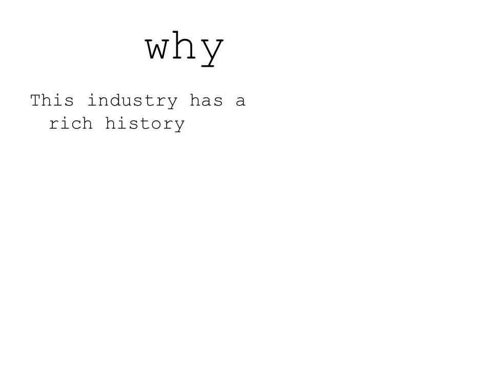 why This industry has a rich history