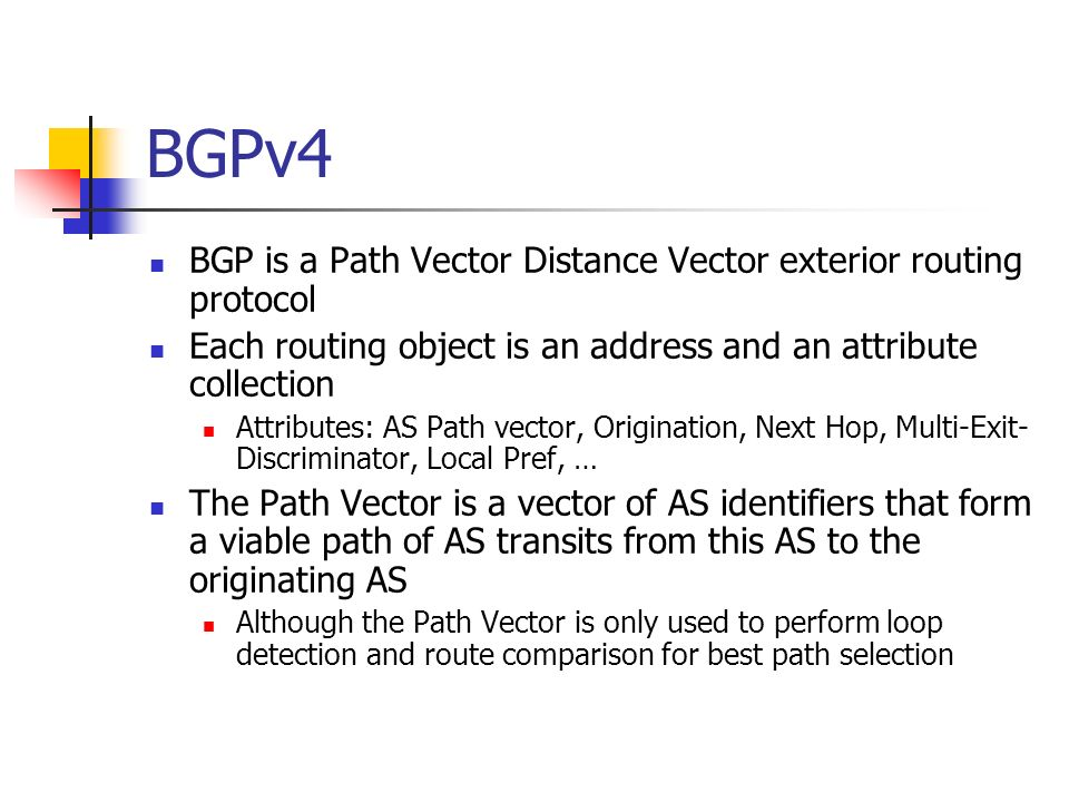 BGPv4 BGP is a Path Vector Distance Vector exterior routing protocol Each routing object is an address and an attribute collection Attributes: AS Path