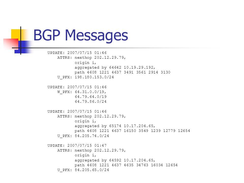BGP Messages UPDATE: 2007/07/15 01:46 ATTRS: nexthop 202.12.29.79, origin i, aggregated by 64642 10.19.29.192, path 4608 1221 4637 3491 3561 2914 3130 U_PFX: 198.180.153.0/24 UPDATE: 2007/07/15 01:46 W_PFX: 64.31.0.0/19, 64.79.64.0/19 64.79.86.0/24 UPDATE: 2007/07/15 01:46 ATTRS: nexthop 202.12.29.79, origin i, aggregated by 65174 10.17.204.65, path 4608 1221 4637 16150 3549 1239 12779 12654 U_PFX: 84.205.74.0/24 UPDATE: 2007/07/15 01:47 ATTRS: nexthop 202.12.29.79, origin i, aggregated by 64592 10.17.204.65, path 4608 1221 4637 4635 34763 16034 12654 U_PFX: 84.205.65.0/24