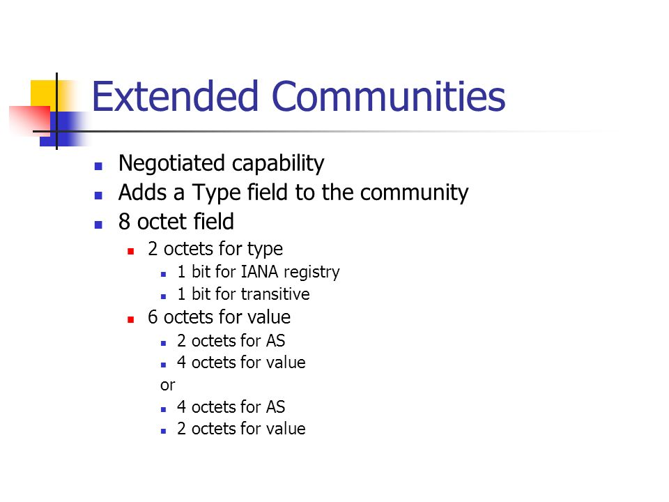 Extended Communities Negotiated capability Adds a Type field to the community 8 octet field 2 octets for type 1 bit for IANA registry 1 bit for transi