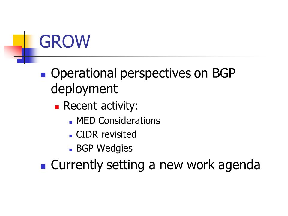 GROW Operational perspectives on BGP deployment Recent activity: MED Considerations CIDR revisited BGP Wedgies Currently setting a new work agenda