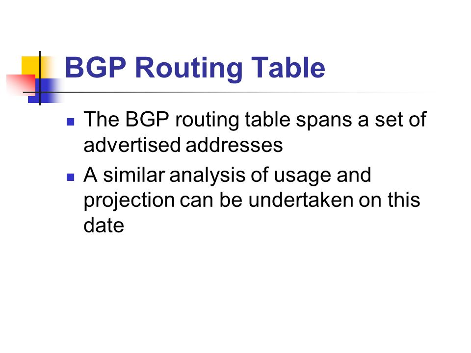 BGP Routing Table The BGP routing table spans a set of advertised addresses A similar analysis of usage and projection can be undertaken on this date