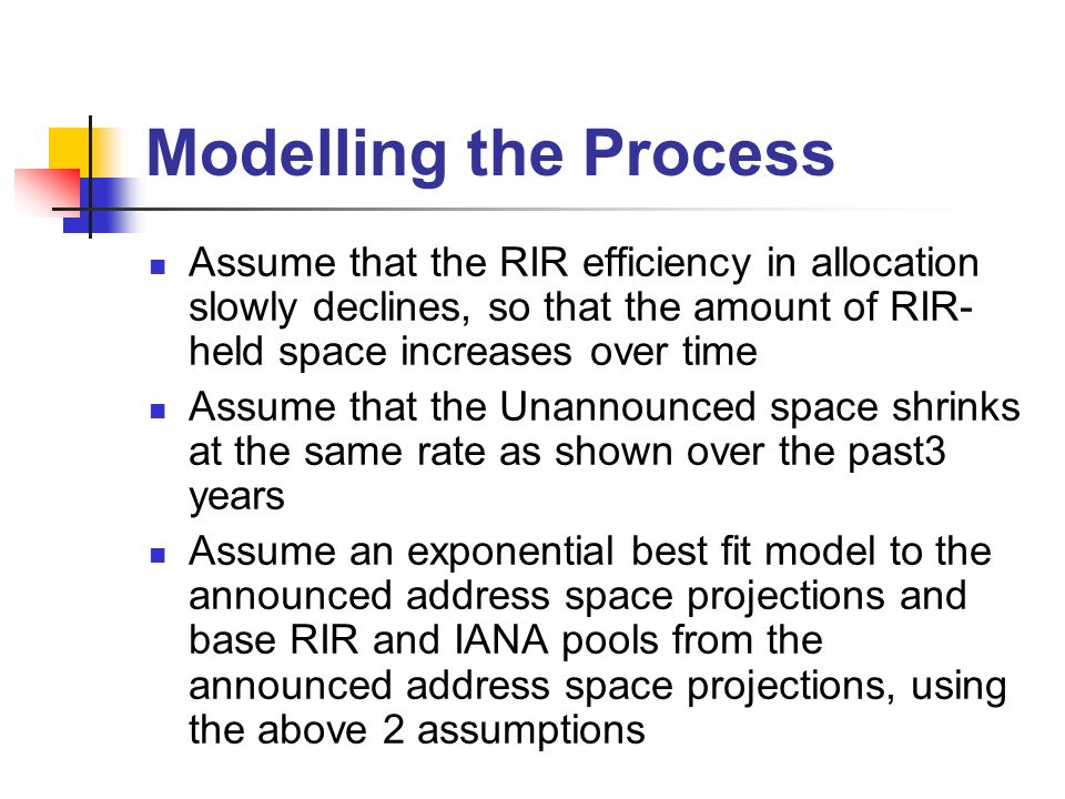 Modelling the Process Assume that the RIR efficiency in allocation slowly declines, so that the amount of RIR- held space increases over time Assume that the Unannounced space shrinks at the same rate as shown over the past3 years Assume an exponential best fit model to the announced address space projections and base RIR and IANA pools from the announced address space projections, using the above 2 assumptions