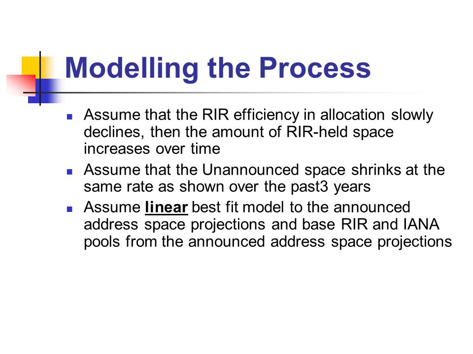 Modelling the Process Assume that the RIR efficiency in allocation slowly declines, then the amount of RIR-held space increases over time Assume that the Unannounced space shrinks at the same rate as shown over the past3 years Assume linear best fit model to the announced address space projections and base RIR and IANA pools from the announced address space projections