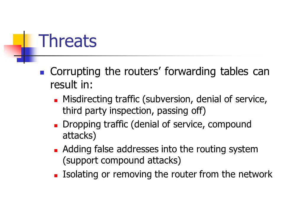 Threats Corrupting the routers forwarding tables can result in: Misdirecting traffic (subversion, denial of service, third party inspection, passing o