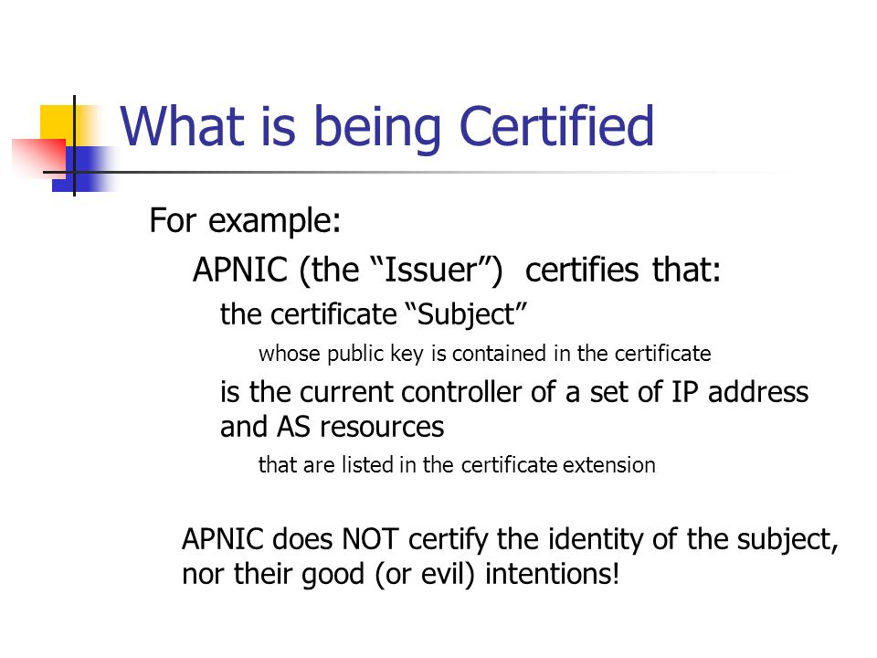 What is being Certified For example: APNIC (the Issuer) certifies that: the certificate Subject whose public key is contained in the certificate is th