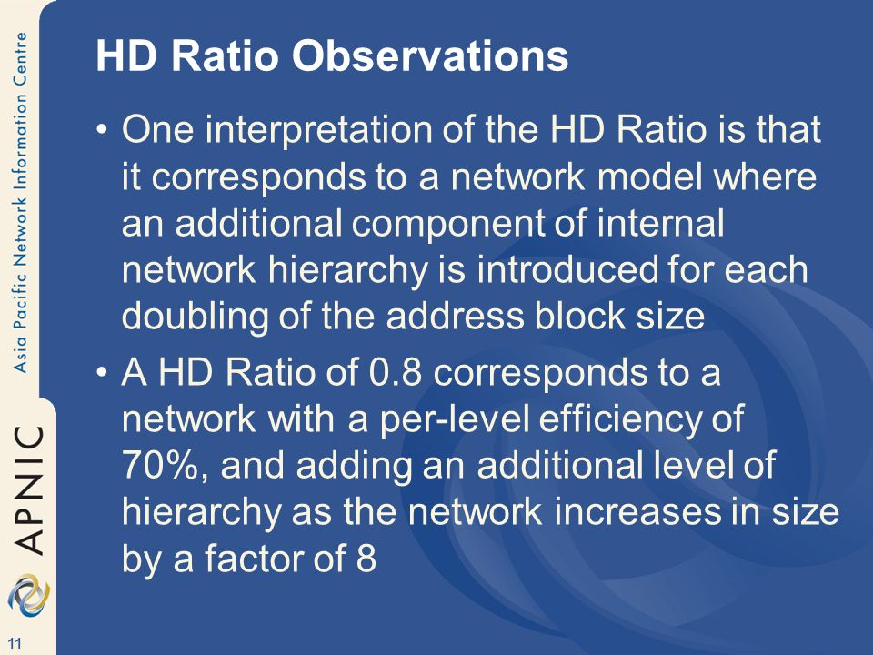 11 HD Ratio Observations One interpretation of the HD Ratio is that it corresponds to a network model where an additional component of internal networ