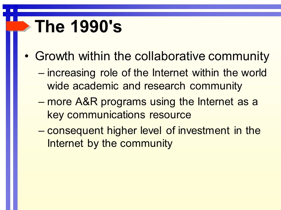 The 1990 s Growth within the collaborative community –increasing role of the Internet within the world wide academic and research community –more A&R programs using the Internet as a key communications resource –consequent higher level of investment in the Internet by the community