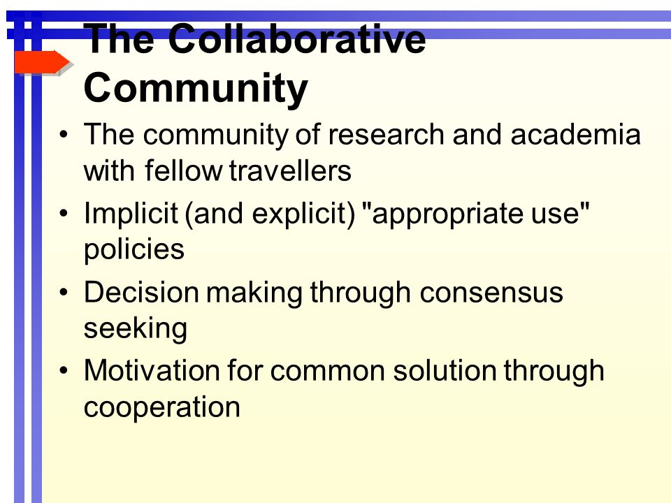 The Collaborative Community The community of research and academia with fellow travellers Implicit (and explicit)