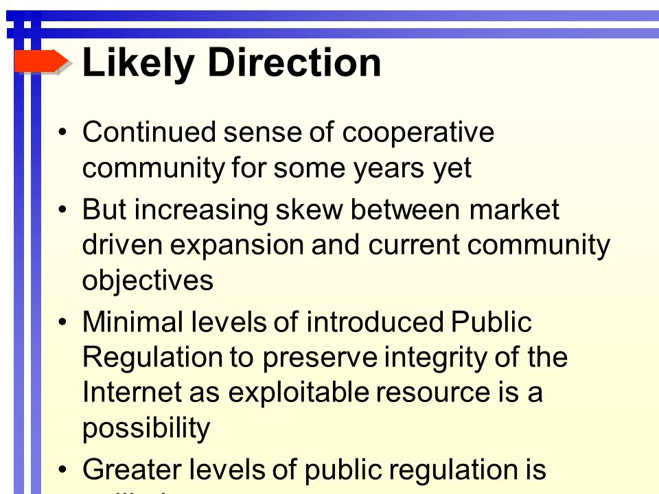 Likely Direction Continued sense of cooperative community for some years yet But increasing skew between market driven expansion and current community