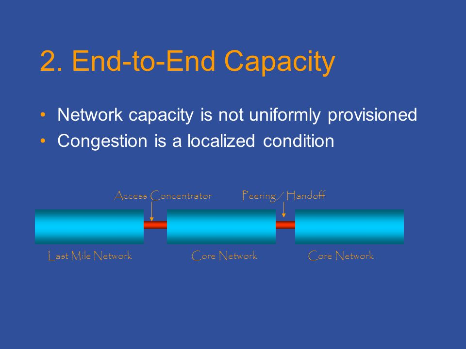 2. End-to-End Capacity Network capacity is not uniformly provisioned Congestion is a localized condition Last Mile NetworkCore Network Peering / Hando