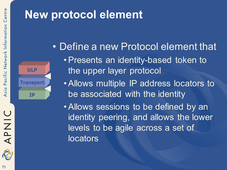11 New protocol element Define a new Protocol element that Presents an identity-based token to the upper layer protocol Allows multiple IP address locators to be associated with the identity Allows sessions to be defined by an identity peering, and allows the lower levels to be agile across a set of locators IP Transport ULP