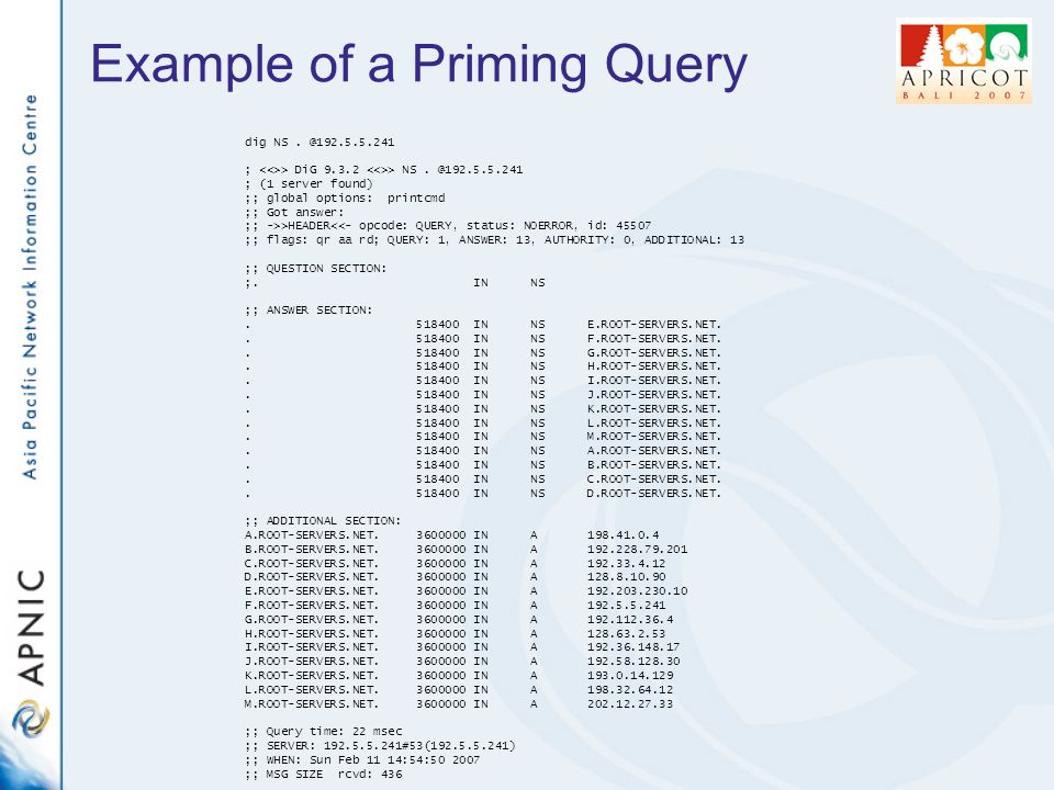 Example of a Priming Query dig NS. @192.5.5.241 ; > DiG 9.3.2 > NS.